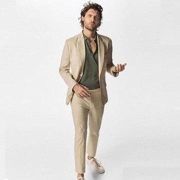 Summer Khaki Man Blazer Jacket Business Coat Pant Skinny Notched Lapel Costume Homme Slim Fit Best Man Suit Mens Wedding Suits