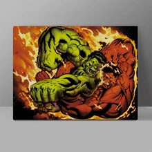 Fight Between Green And Red Giants Canvas Superhero Painting Comic Super Hero Wall Pictures Bedroom HD Print Hanging Painting girls goddesses and giants