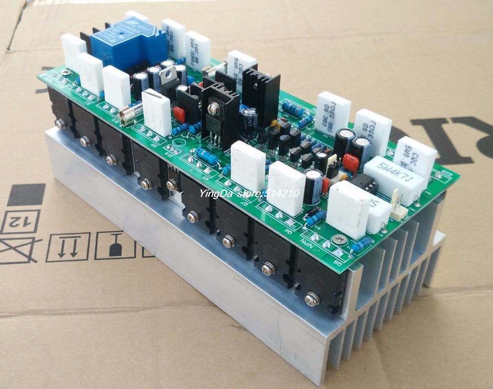High power good sound assembled HIFI 1000W TTC5200/TTA1943 mono amplifier board with the 2u heatsink music fax f18 high power class a power amplifier board 200w 2 diy hifi amplifiers mono amplifier board 1 sets 2pcs