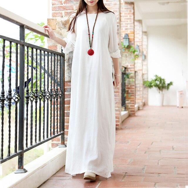 8c37e59bc00f ASYMSAY Bianco Abito di Lino Cotone 2017 di Disegno Semplice Large Size Abbigliamento  Donna Donna Elegante