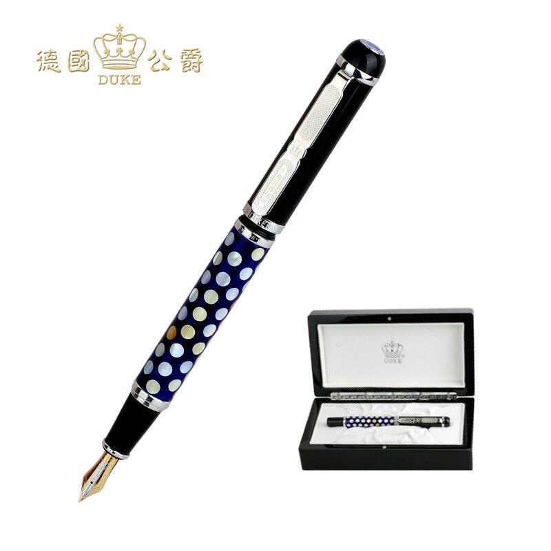 Модные Герцог авторучка Роскошные 18 К Золотое перо 0,5 мм наконечник чернилами High End Бизнес Подарочные ручки с В Оригинальная коробка Бесплат