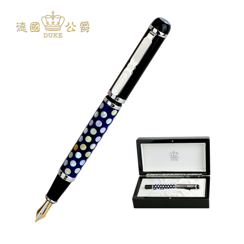 Fashion Duke Fountain Pen Luxury 18k Gold Pen 0.5mm Nib Ink Pen High End Business Gift Pens with An Original Box Free Shipping most popular duke confucius bent nib art fountain pen iraurita 1 2mm calligraphy pen high end business gift pens with a pen case