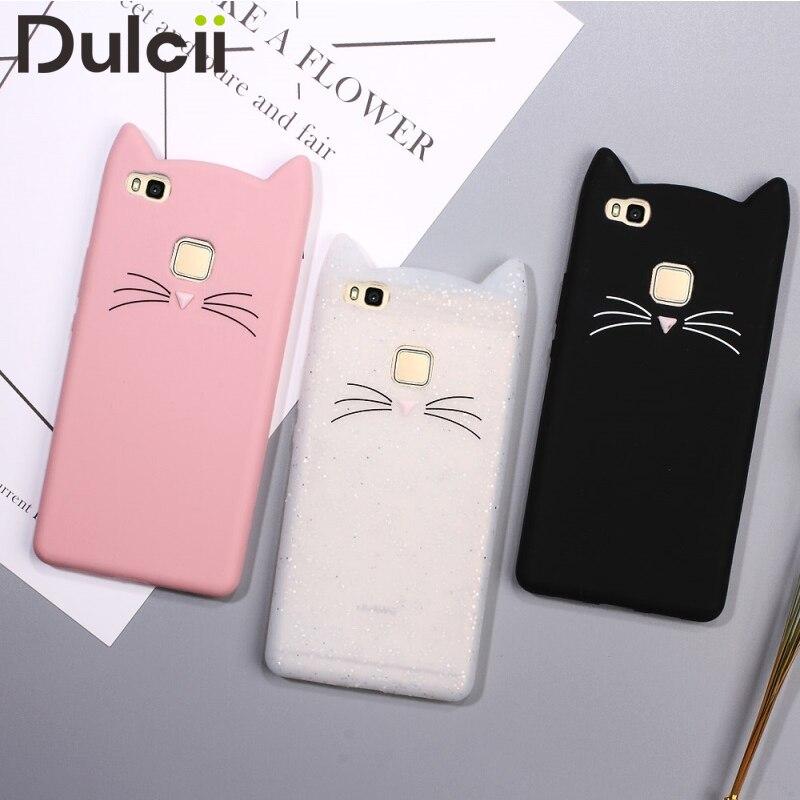 DULCII Téléphone Cas pour Huawei P10 Lite P9 P8 Lite 2017 Couverture chat funda coque Silicone Mignon Smartphone 3D Chat smartphone Sac