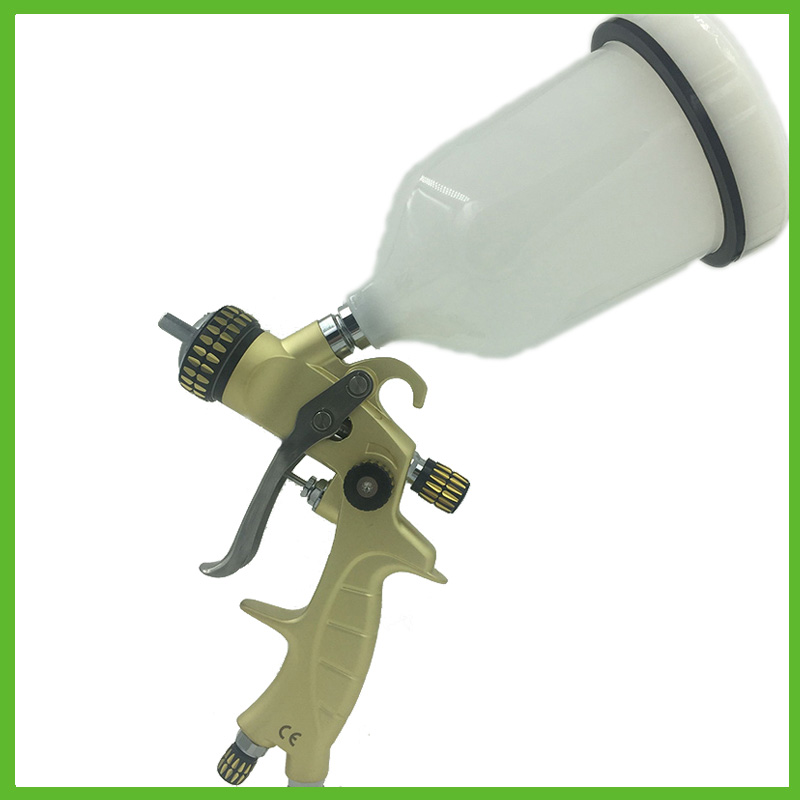 SAT1215A professional diy coating gun pressure tank paint high quality spray gun compresor pnematic tools 10l paint tank with high pressure spray gun paint tank with regulator and ring pull safety calve with 12 of air and fluid hoses