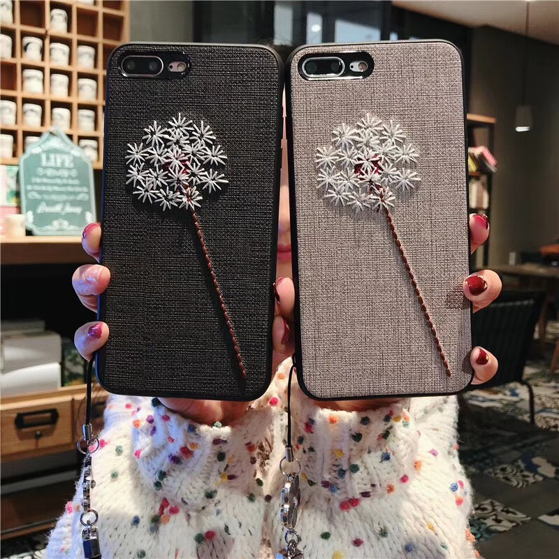Embroidery flowers Phone Cases For iphone 6 6s 7 8 Case Vintage Fabric plum blossom Soft Cover For iphone7plus 8plus 6sPlus Case