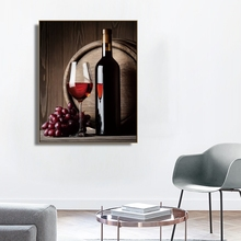 Laeacco Canvas Calligraphy Painting Still Life Posters and Prints Wine Barrel Grape Wall Artwork Home Living Room Decoration