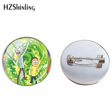 2019 Fashion Silver Bros Rick dan Morty Anime Kartun Perhiasan Kaca Canochon Foto Buatan Tangan Perhiasan Bros Pin(China)