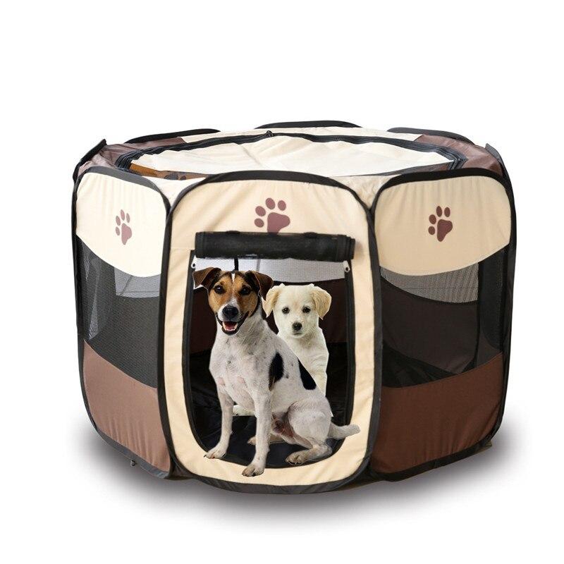 Tragbare Falten zelt Haustier Hund Haus Käfig Hund Katze Zelt Laufstall Welpen Zwinger Einfache Bedienung Achteckige Zaun im freien liefert