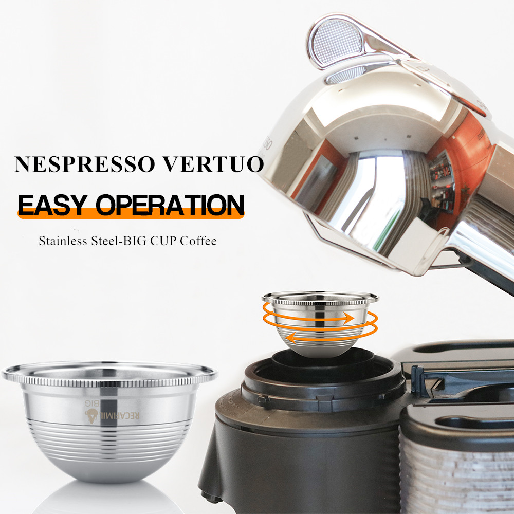 BIG CUP Espresso Capsulas Recargables Nespresso Vertuoline & Vertuo Stainless Steel Refillable Coffee Filter Reusable Pods