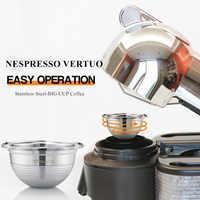 Copa grande Espresso Capsulas Recargables Nespresso vertuolina y Vertuo de acero inoxidable filtro de café rellenable cápsulas reutilizables