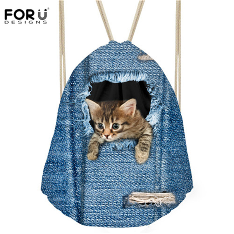FORUDESIGNS Women Small Drawstring Bag Denim Kwaii Cat 3D Pringting Sport Unisex Bag for Ladies Gym Storage Bag Mochila Feminina
