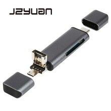 JZYuanทั้งหมดใน1 USB 2.0ประเภทCโลหะอ่านการ์ดความเร็วสูงSD TF M Icro SD Card Reader Micro USBหลายหน่วยความจำOTG Cardอ่าน