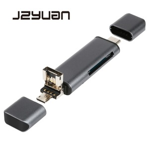 Image 1 - JZYuan All In 1 USB 2.0 Type C Metal Card Reader High Speed SD TF Micro SD Card Reader Micro USB Multi Memory OTG Card Reader