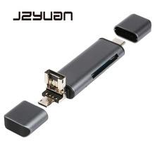 JZYuan Tudo Em 1 Leitor de Cartão de Alta Velocidade USB 2.0 Tipo C De Metal SD TF Micro SD Leitor de Cartão Micro USB OTG Cartão de Memória Multi leitor