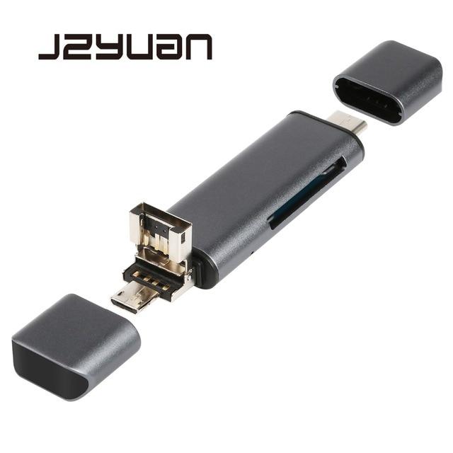 JZYuan todo en 1 USB 2,0 tipo C lector de tarjetas de Metal de alta velocidad SD TF Lector de Tarjetas Micro SD Micro USB multimemoria lector de tarjetas OTG