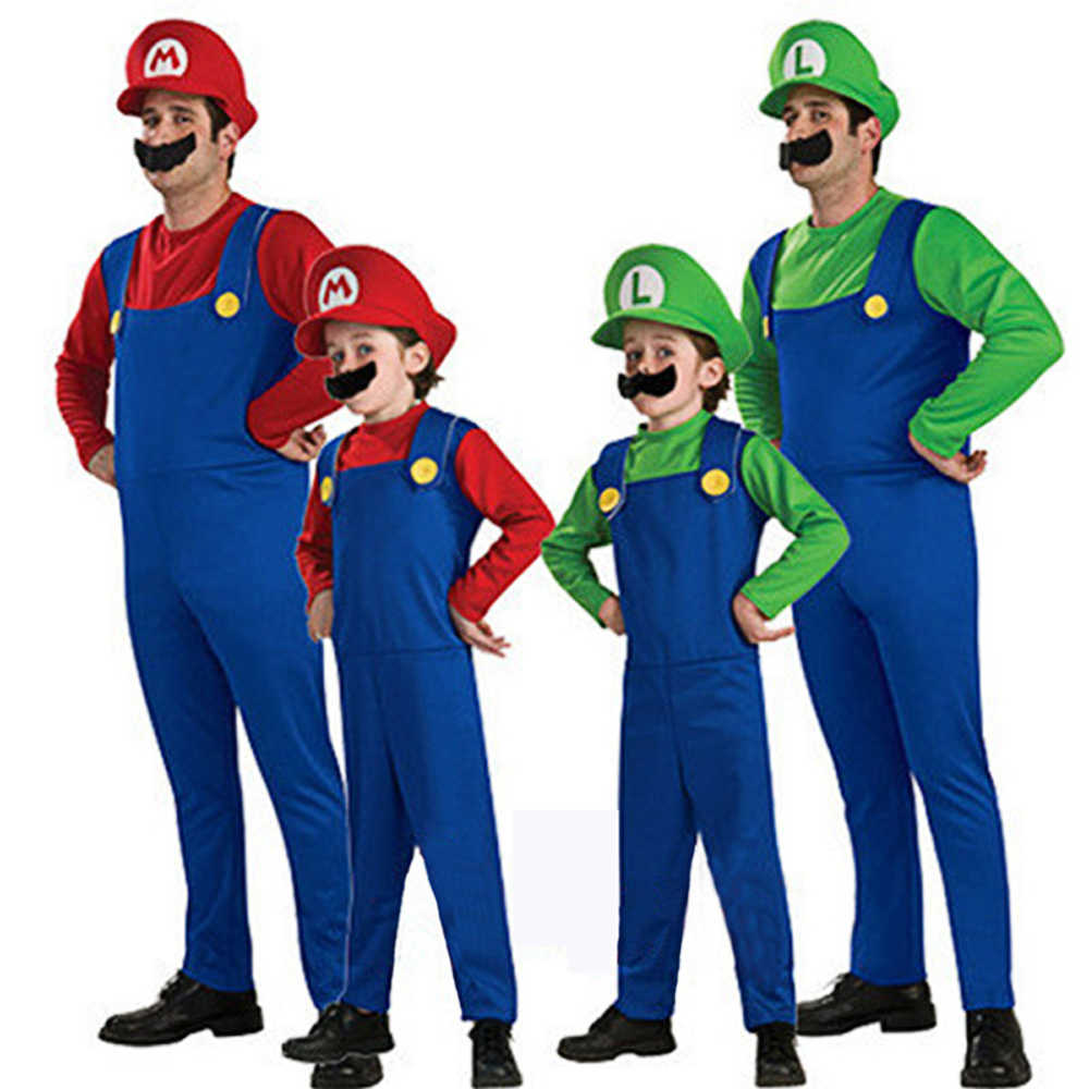 Halloween Costumes Super Mario Luigi Brother Costume Kids Children / Adult Fantasia Cosplay Jumpsuit Mario costume mario bros