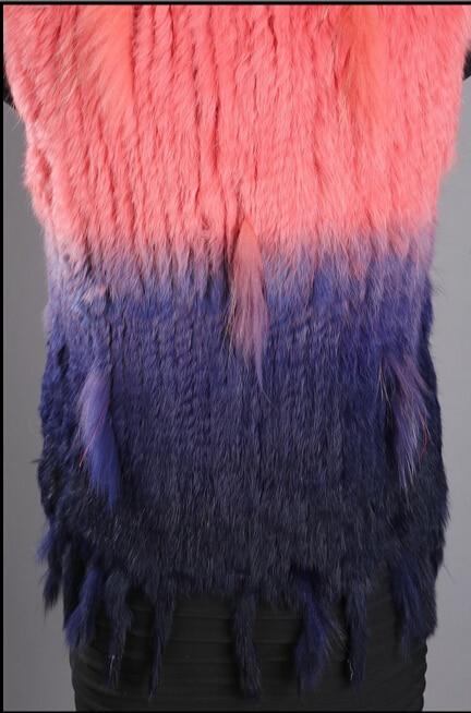 2017 Tricoté Mode Réel Laveur De Lapin Naturel Automne Femmes Fourrure Hiver Tricotés Col Style 1 3 Gland 4 2 Vestes Dames Gilet Raton ra58qr