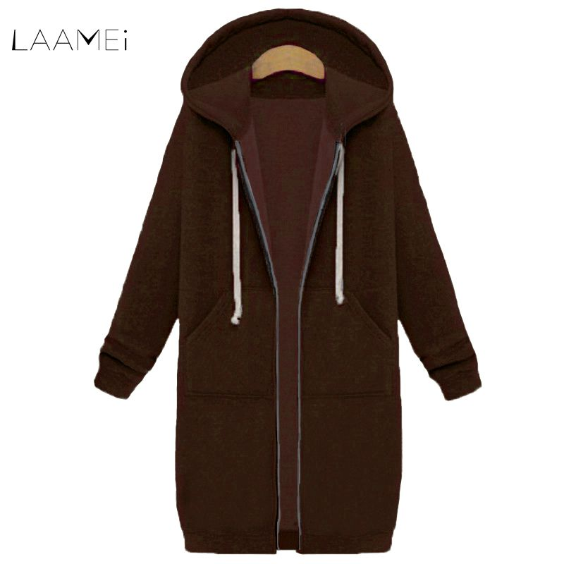 Laamei 2018 Autumn Winter Long Hooded Coat Women Oversized Casual Slim Sweatshirts Coat Pocket Zipper Outerwear Jacket Plus Size