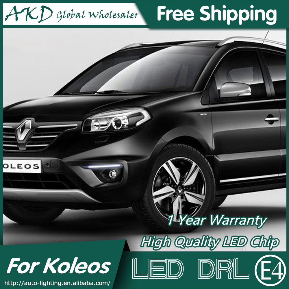 AKD Car Styling LED Fog Lamp for Renault Koleos LED DRL with Fog Lamp Cover LED Running Light Fog Light Parking Accessories microfiber leather steering wheel cover car styling for renault scenic fluence koleos talisman captur kadjar