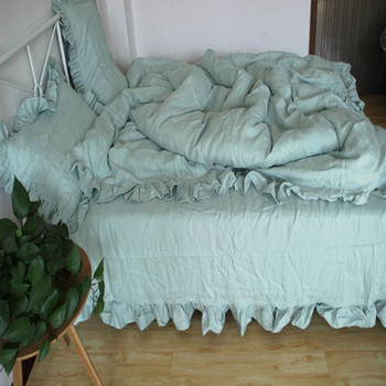 100% Hemp Antibacterial King Queen Size Washed Blue Gray Ivory White Colors Flat Sheet Duvet Covet Cover 4 pcs set customize фото