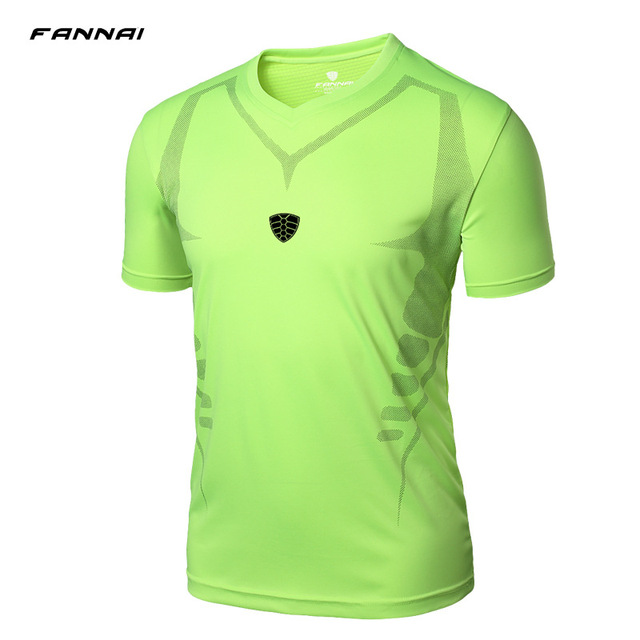 20a5f56b8a08 Running Shirt Men Short Sleeves V Neck Sport Fitness Breathable Quick-Drying  Tops Training T