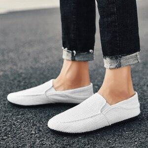 Image 3 - Homens sapatos de lona mocassins apartamentos masculino sapatos de linho tênis casuais moda deslizamento ons leve respirável coreano