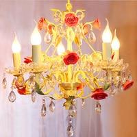 modern flower&plans Chandeliers lighting for girls room k9 crystal lustres chandelier livingroom dining antique candle lights