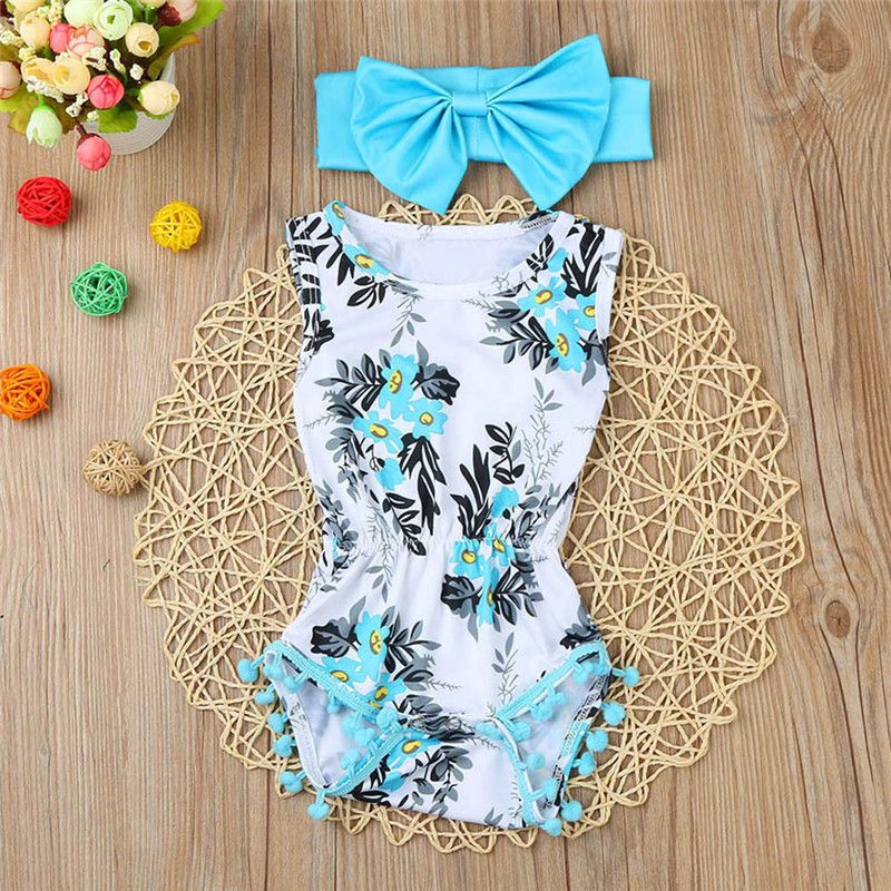 Baby Romper Newborn baby clothes Toddler Kid Baby Girl Print Cotton Jumpsuit Sunsuit+Headband comfortable Clothes Set, Xm30