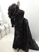Latest Fashion Pageant Dresses For Women One Shoulder Long Sleeve Flower Evening Gown Black Lace Mermaid