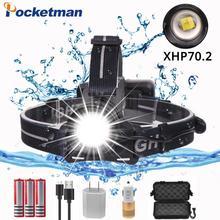 купить 50000ml xhp70 2.0 headlamp Zoom Head Lamp Flashlight Torch Lantern Head Light use 3*18650 Battery with box and USB cable дешево