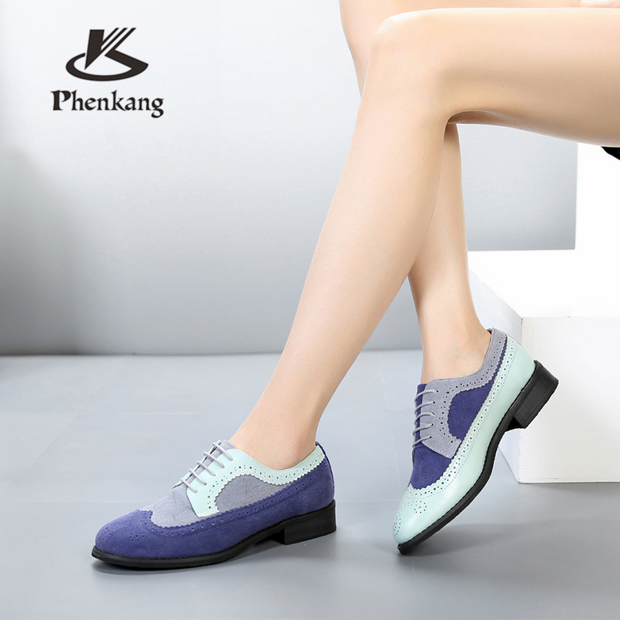 Genuine cow leather brogues designer vintage lady flats shoes handmade oxford shoes for women blue grey 2018 with fur in Women 39 s Flats from Shoes