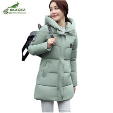2017 Women Winter Jacket coat Hooded Solid Color Warm Down jacket Medium Long High-end Large size Thickn Lady Cotton Jacket Coat