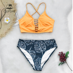 d90605f640a9 CUPSHE Yellow And Leaves Print Lace-up Bikin Sets Swimsuits 2019 Women Sexy  Two Pieces