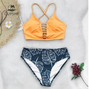 Image 2 - CUPSHE jaune et feuilles imprimer lacets Bikin ensembles maillots de bain 2020 femmes Sexy deux pièces maillots de bain maillots de bain