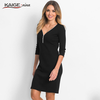KaigeNina New Fashion Hot Sale Office Lady Solid Natural V Neck Knee Length Half Sleeve Sheath