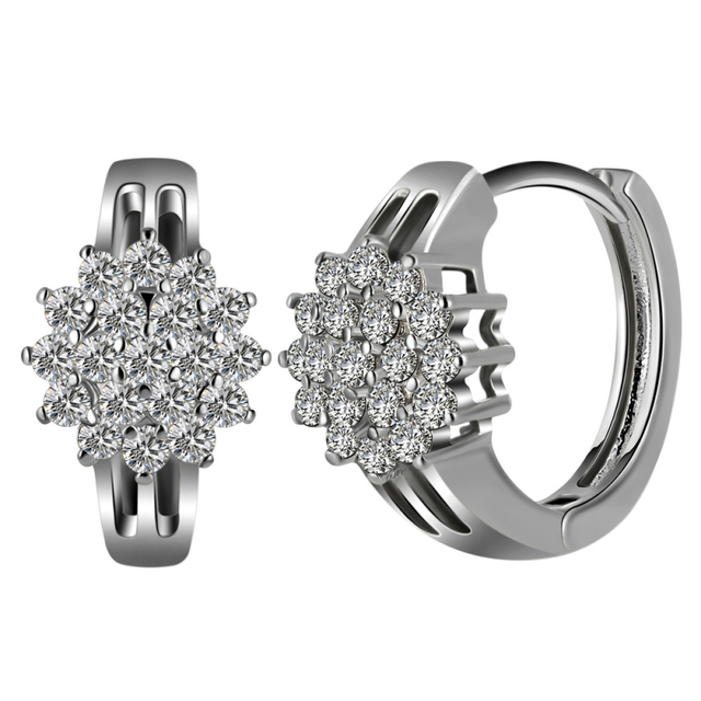 High Quality Aaa Clear Crystal Sunflower White Gold Color Hoop Earrings Fashion Party Costume Jewelry For