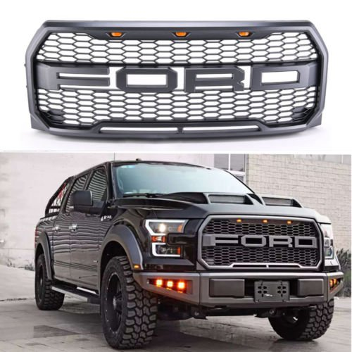 1 pc Lantsun Exoticstore REPLACEMENT 2015 2016 2017 Raptor style ABS front Grill Kit For Ford F-150 Raptor With Amber LED Lights
