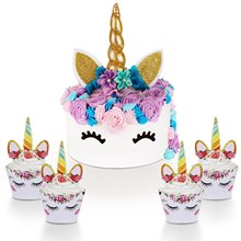 METABLE 24SET Eyelashes and Unicorn Cupcake Toppers Wrappers Set - Party Decorations Kit for Birthday