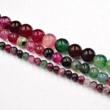 DIY Natural Tourmaline Agates Round Stone Beads Agates Whole