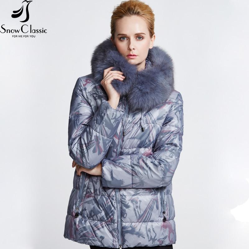 Snowclassic Women Coat Down Print Winter Coat 2018 Real Fox Fur Collar parkas 80% white duck down coats fur coats women 12320