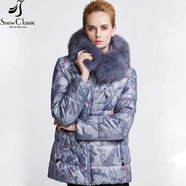Snowclassic Новая Зимняя Коллекция пуховик зимний женский Куртка из белого пуха утки Воротник из лисьего меха Теплая водостойкая куртка пуховик женский 12320