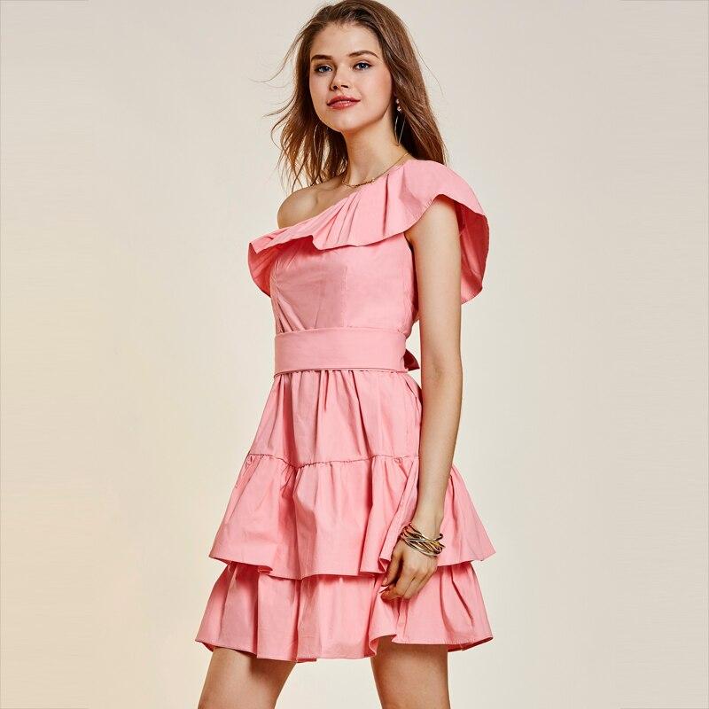 Patchwork One Shoulder Dresses