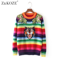 Z KOZE Tiger Head Patchwork Striped Jumper 2017 Fall Winter New Luxury Fashion Women Sweater Pullover