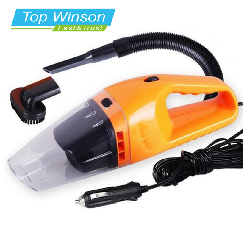 Car Vacuum Cleaner Portable Wet And Dry Dual Use Auto Cigarette Lighter Filter 120W 12V Orange