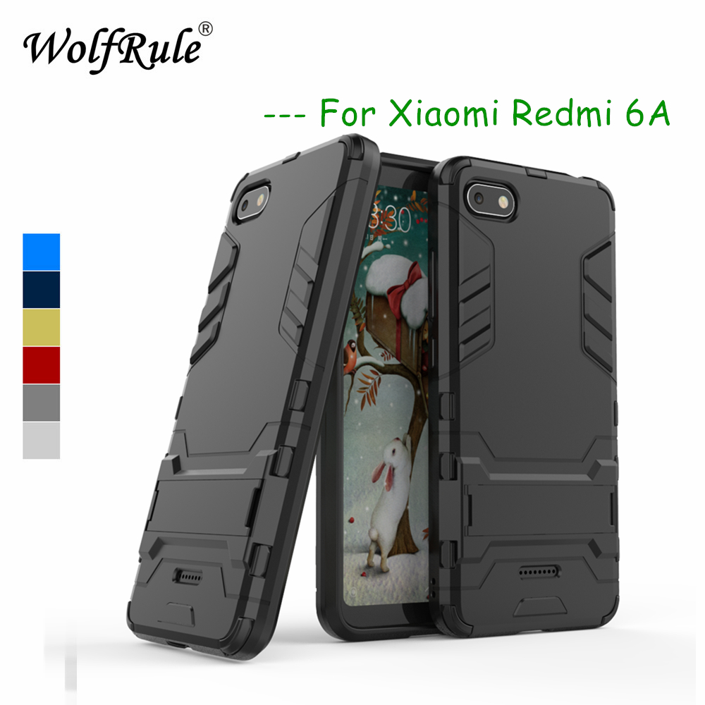 WolfRule Case <font><b>Xiaomi</b></font> <font><b>Redmi</b></font> <font><b>6A</b></font> Cover Rubber + Hard Plastic Kickstand Back Case For <font><b>Xiaomi</b></font> <font><b>Redmi</b></font> <font><b>6A</b></font> Phone Fundas Xiomi <font><b>Redmi</b></font> <font><b>6A</b></font> { image