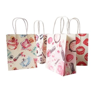 Image 1 - 50 Pcs/lot 15x18cm Cosmetic Pattern Printing Paper Bags With Handle Gift Bags Party Favor Wedding Packaging Storage Bags