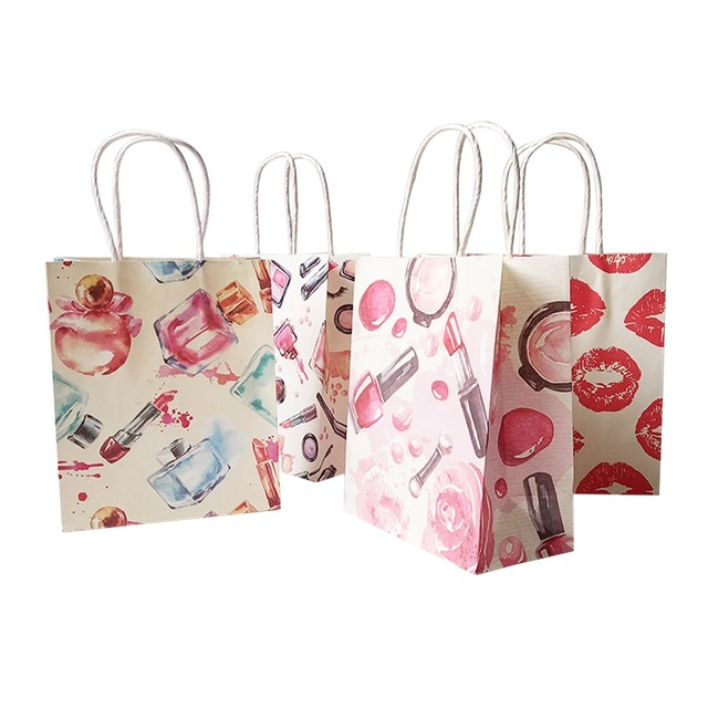 50 Pcs/lot 15x18cm Cosmetic Pattern Printing Paper Bags With Handle Gift Bags Party Favor Wedding Packaging Storage Bags