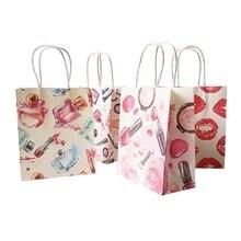 50 pçs/lote 15x18cm padrão cosmético impressão sacos de papel com alça sacos de presente festa favor casamento sacos de armazenamento