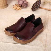 2016 new arrival spring and autumn round toe genuine leather shoes handmade casual women shoes