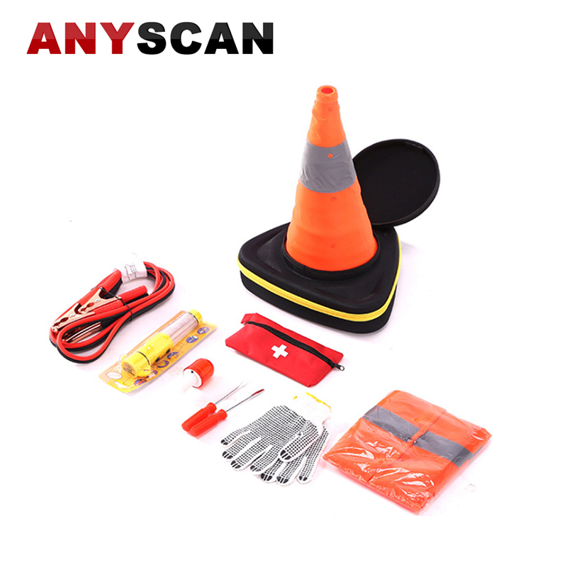 10 in 1 Auto Roadside Assistance Emergency Essentials Car Kit Survival Bag LED Safety Light Traffic Cone Hammer Screwdriver and
